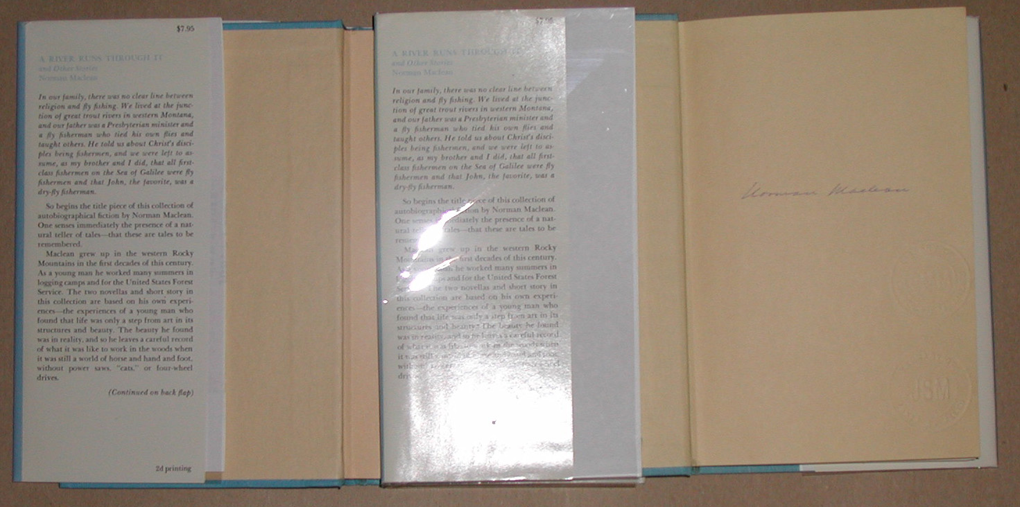 A river runs through it figure 2 left first edition second printing dust jacket front flap 795 price and 2nd printing at bottom of flap center first edition first printing biocorpaavc Image collections